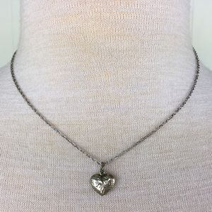 Sterling Silver Etched Heart Necklace